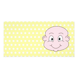 Cute Baby, on yellow polka dot pattern. Photo Card Template