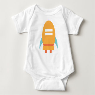 Cute Baby Orange Spaceship Rocket Baby Bodysuit