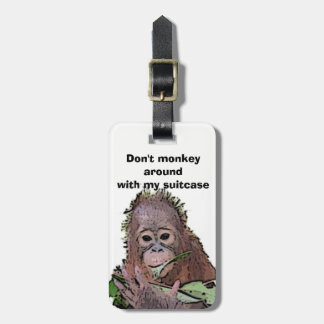 Cute Baby Orangutan Art for Charity Luggage Tag