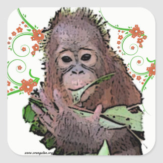 Cute Baby Orangutan Art with flowers and vines Square Sticker