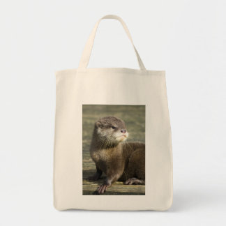 Cute Baby Otter Grocery Tote Bag