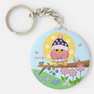 Cute baby owl on a branch with custom name key ring