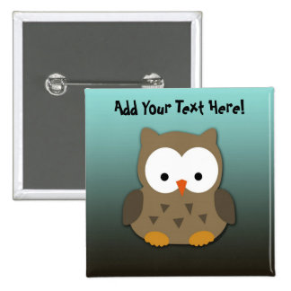 Cute Baby Owl Personalized 15 Cm Square Badge