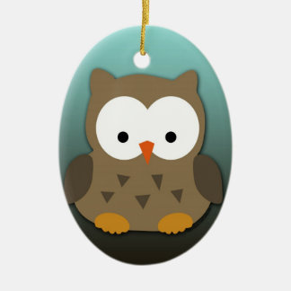 Cute Baby Owl Personalized Ceramic Ornament