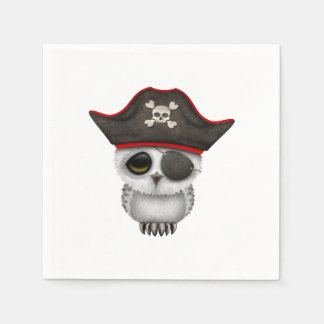 Cute Baby Owl Pirate Disposable Serviettes