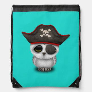 Cute Baby Owl Pirate Drawstring Bag