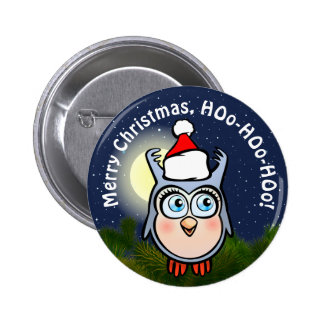 Cute Baby Owl With Christmas Hat 6 Cm Round Badge