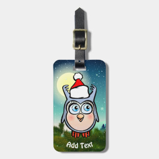 Cute Baby Owl With Santa Claus Hat Luggage Tag