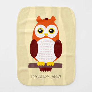 Cute Baby Owls on Branches Burp Cloth