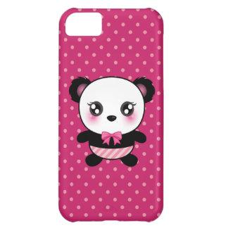 Cute Baby Panda Bear Pink Polka Dots Pattern iPhone 5C Case