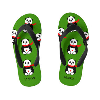 Cute Baby Panda Bear with Bowler Hat and Red Scarf Kid's Thongs