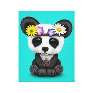 Cute Baby Panda Hippie Canvas Print