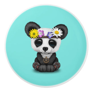 Cute Baby Panda Hippie Ceramic Knob