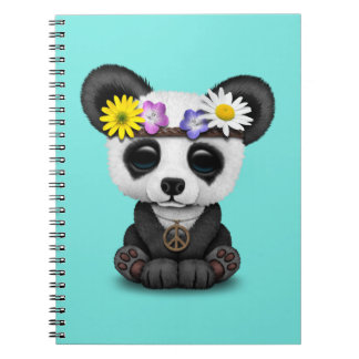 Cute Baby Panda Hippie Notebook