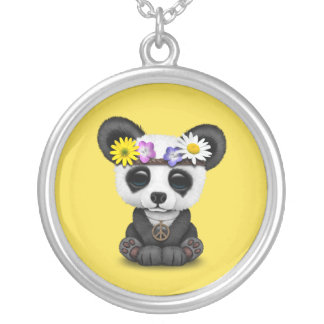 Cute Baby Panda Hippie Silver Plated Necklace