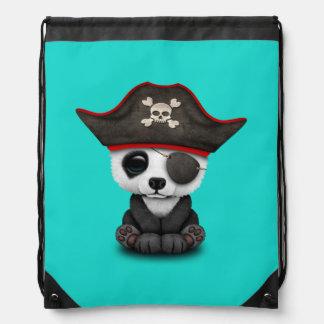 Cute Baby Panda Pirate Drawstring Bag