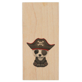 Cute Baby Panda Pirate Wood USB Flash Drive