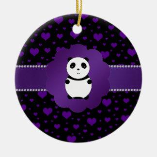 Cute baby panda purple hearts ceramic ornament
