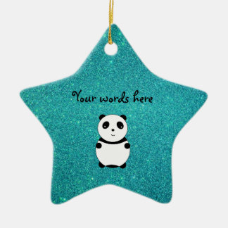 Cute baby panda turquoise glitter ornaments