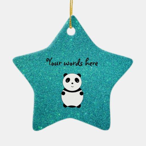Cute baby panda turquoise glitter ornaments