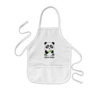 Cute Baby Panda Vegan Kids Apron