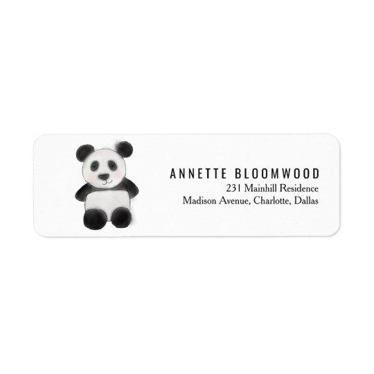 Cute Baby Panda Watercolor Illustration Return Address Label