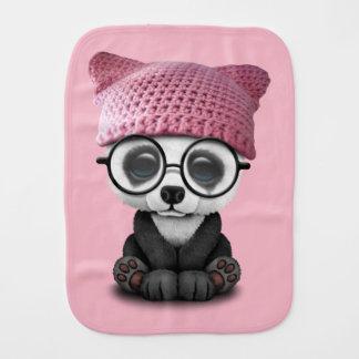 Cute Baby Panda Wearing Pussy Hat Burp Cloth