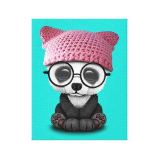 Cute Baby Panda Wearing Pussy Hat Canvas Print