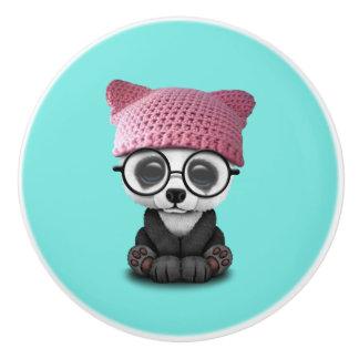 Cute Baby Panda Wearing Pussy Hat Ceramic Knob