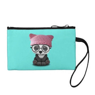 Cute Baby Panda Wearing Pussy Hat Coin Purse