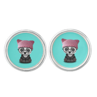 Cute Baby Panda Wearing Pussy Hat Cufflinks