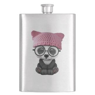 Cute Baby Panda Wearing Pussy Hat Hip Flask