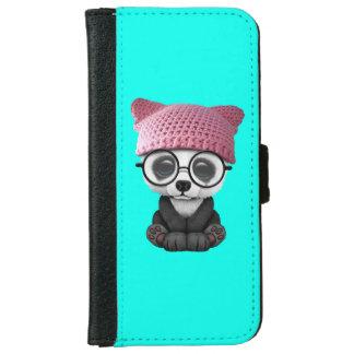 Cute Baby Panda Wearing Pussy Hat iPhone 6 Wallet Case