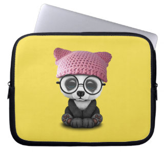Cute Baby Panda Wearing Pussy Hat Laptop Sleeve