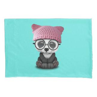 Cute Baby Panda Wearing Pussy Hat Pillowcase