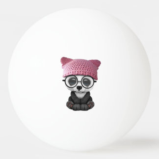 Cute Baby Panda Wearing Pussy Hat Ping Pong Ball