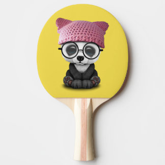 Cute Baby Panda Wearing Pussy Hat Ping Pong Paddle
