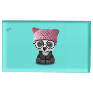 Cute Baby Panda Wearing Pussy Hat Place Card Holder