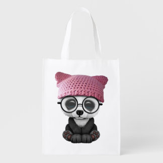 Cute Baby Panda Wearing Pussy Hat Reusable Grocery Bag