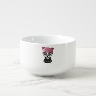 Cute Baby Panda Wearing Pussy Hat Soup Mug