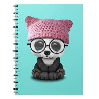 Cute Baby Panda Wearing Pussy Hat Spiral Notebook
