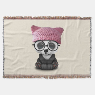 Cute Baby Panda Wearing Pussy Hat Throw Blanket