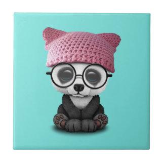 Cute Baby Panda Wearing Pussy Hat Tile