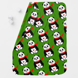 Cute Baby Pandas with Bowler Hats and Red Scarves Baby Blanket