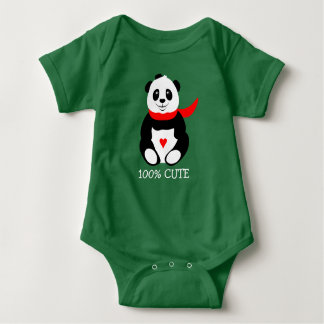 Cute Baby Pandas with Bowler Hats and Red Scarves Baby Bodysuit