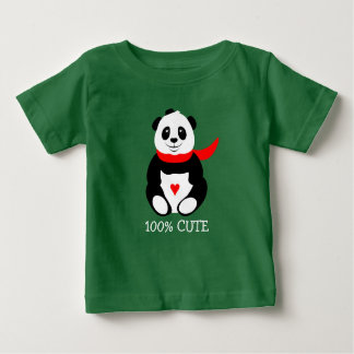 Cute Baby Pandas with Bowler Hats and Red Scarves Baby T-Shirt