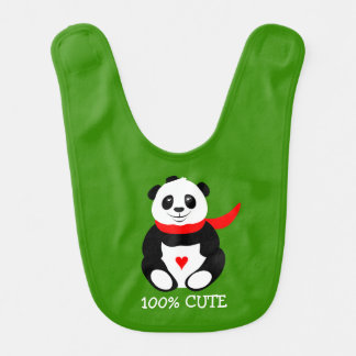 Cute Baby Pandas with Bowler Hats and Red Scarves Bib