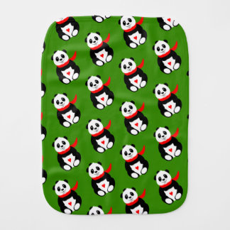 Cute Baby Pandas with Bowler Hats and Red Scarves Burp Cloth