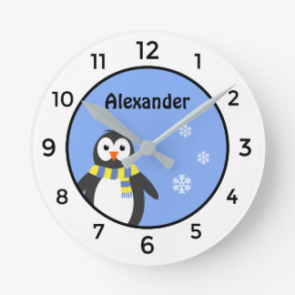 Cute baby penguin add name blue white kid's round clock