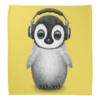 Cute Baby Penguin Dj Wearing Headphones Bandana